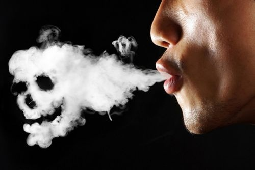 Skull shaped cigarette smoke